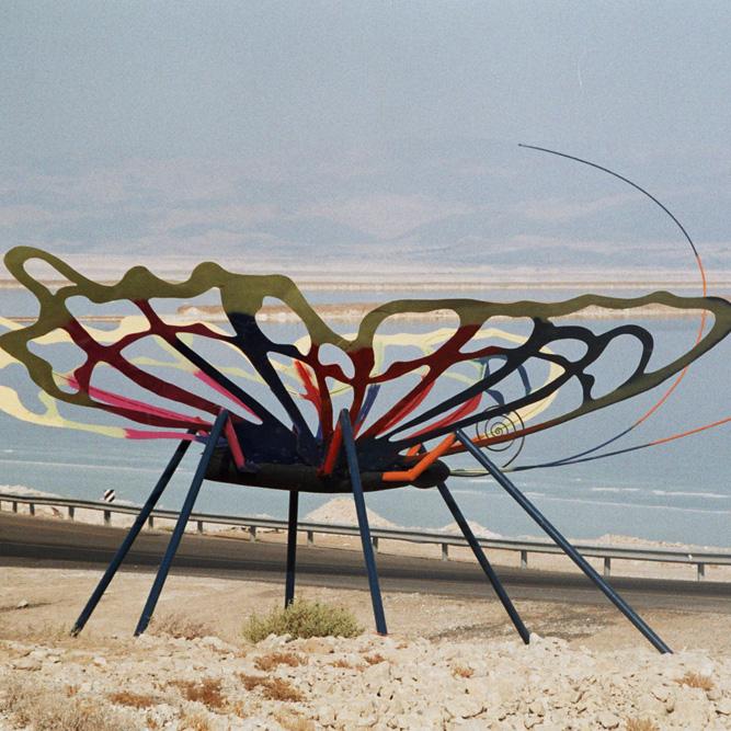פסל הפרפר של הפסל ישראל פרימו בים המלח